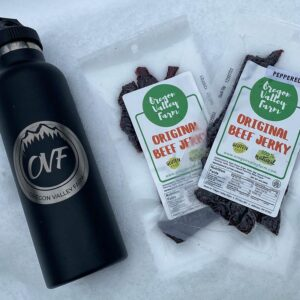 2 Packs of Jerky and a 25oz Vacuum Insulated Stainless Steel OVF Water Bottle from Oregon Valley Farm